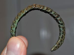 A superb and intricately made Viking period bronze wire ladies bracelet / bangle, Latvia. SOLD